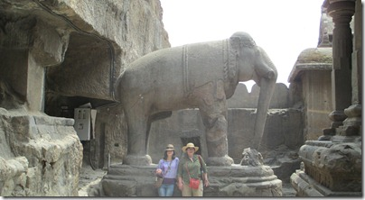 Morgan and Kim with Ellora elephant