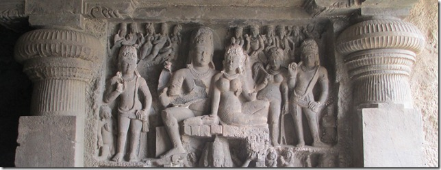 Ellora cave 29, Shiva and Parvati