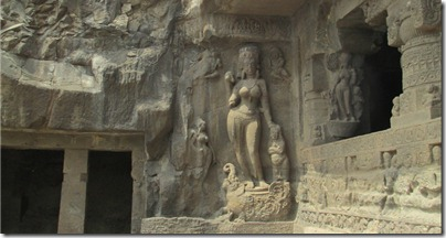 Ganga, outside Ellora cave 22