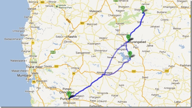 Aurangabad trip map