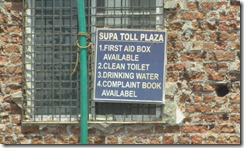 India toll plaza sign