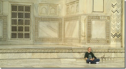 Meditating at Taj Mahal