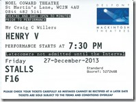 Henry V Ticket