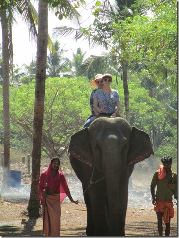 Morgan and Kim ride Sundari the elephant
